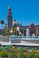 Plaza de Panama, Fountain, Garden, California, Tower, Museum of Man, Balboa Park, San Diego, Ca