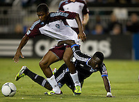 Joseph Nane of Rapids fights for the ball against Simon Dawkins of Earthquakes during the game at Buck Shaw Stadium in Santa Clara, California on August 25th, 2012.   San Jose Earthquakes defeated Colorado Rapids, 4-1.
