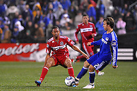 Michael Harrington , Mike Banner (red)...Kansas City Wizards played to a 2-2 tie with Chicago Fire at Community America Ballpark, Kansas City, Kansas.