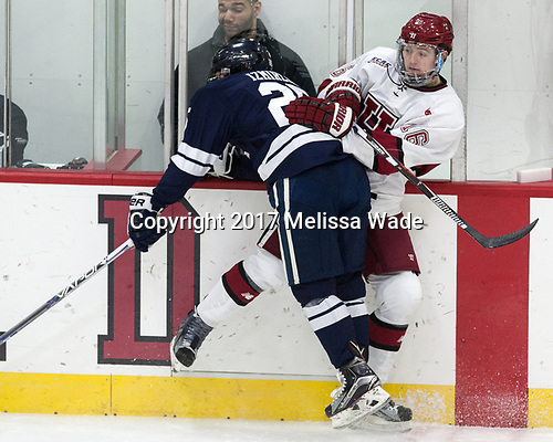 Chris Izmirlian (Yale - 25), Ryan Donato (Harvard - 16) - The Harvard University Crimson tied the visiting Yale University Bulldogs 1-1 on Saturday, January 21, 2017, at the Bright-Landry Hockey Center in Boston, Massachusetts.