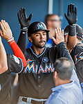 1 March 2017: Miami Marlins outfielder Isaac Galloway returns to the dugout after hitting a solo home run in the 7th inning of Spring Training action against the Houston Astros at the Ballpark of the Palm Beaches in West Palm Beach, Florida. The Marlins defeated the Astros 9-5 in Grapefruit League play. Mandatory Credit: Ed Wolfstein Photo *** RAW (NEF) Image File Available ***