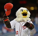 20 September 2012: Washington Nationals Mascot Screech waves his cap prior to a game against the Los Angeles Dodgers at Nationals Park in Washington, DC. The Nationals defeated the Dodgers 4-1, clinching a playoff birth: the first time for a Washington franchise since 1933. Mandatory Credit: Ed Wolfstein Photo