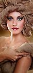 young woman beauty portrait wearing jute turban