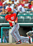 6 March 2012: Washington Nationals outfielder Jayson Werth hits a home run during a Spring Training game against the Atlanta Braves at Champion Park in Disney's Wide World of Sports Complex, Orlando, Florida. The Nationals defeated the Braves 5-2 in Grapefruit League action. Mandatory Credit: Ed Wolfstein Photo