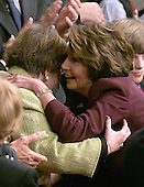 Washington, D.C. - January 4, 2007 --  United States Representative Nancy Pelosi (Democrat of the 8th District of California) shares a hug with U.S. Senator Barbara Mikulski (Democrat of Maryland) during the voting for the Speaker of the United States House of Representatives in the Capitol in Washington, D.C. on Thursday, January 4, 2007.  Speaker Pelosi is the first woman in U.S. history to serve in that position..Credit: Ron Sachs / CNP