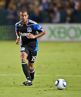 CARSON, CA – August 20, 2011: San Jose Earthquake Justin Morrow (15) during the match between LA Galaxy and San Jose Earthquakes at the Home Depot Center in Carson, California. Final score LA Galaxy 2, San Jose Earthquakes 0.