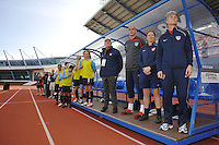 US Women's National Team head coach Pia Sundhage and assistant coach Hege Riise on the US bench at the 2010 Algarve Cup game vs Iceland in Vila Real Sto. Antonio, Portugal.