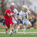 18 April 2015:  University of Vermont Catamount Face Off Specialist Luc LeBlanc, a Sophomore from Essex, VT, in action against the visiting University of Hartford Hawks at Virtue Field in Burlington, Vermont. The Cats defeated the Hawks 14-11 in the final home game of the 2015 season. Mandatory Credit: Ed Wolfstein Photo *** RAW (NEF) Image File Available ***