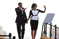 U.S. President Barack Obama and  First Lady Michelle Obama prior to delivering a speech near Prague Castle in Prague, Czech Republic in  Strasbourg, France on 2009-04-05   Earlier in the day North Korea fired a rocket over Japan, defying Washington, Tokyo and other world leaders who suspect the launch was cover for a test of its long-range missile technology. U.S. President Barack Obama warned the move would further isolate the communist nation. &copy; by Wiktor Dabkowski .POLAND OUT