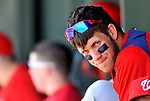 3 March 2011: Washington Nationals' outfielder Bryce Harper sits in the dugout during a Spring Training game against the St. Louis Cardinals at Roger Dean Stadium in Jupiter, Florida. The Cardinals defeated the Nationals 7-5 in Grapefruit League action. Mandatory Credit: Ed Wolfstein Photo