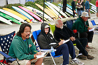 Saturday, June 14, 2008, Tourmaline Surf Park, Pacific Beach, San Diego, CA, USA.  Judges score one of the heats during the Pacific Beach Surf Club's Tenth Annual Longboard Classic at Tourmaline Surfing Park.  From left, Glenn Paculba, Greg Miller, Jeff Grant and Tom Davis.  The event was well attended despite gray, June gloom clouds and fickle, windy surf conditions.