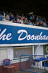 Queen of the South 2 Stranraer 0, 11/08/2015. Scottish Challenge Cup first round, Palmerston Park. Fans in the main stand at Palmerston Park, Dumfries, before Queen of the South hosted Stranraer in a Scottish Challenge Cup first round match. The game was the opening match of the season in a competition open to sides below the Scottish Premiership. Queen of the South won the match 2-0, watched by a crowd of 1229 spectators. Photo by Colin McPherson.