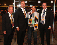 Paolo Cardozo with Galaxy staff at the 2011 MLS Superdraft, in Baltimore, Maryland on January 13, 2010.