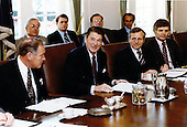 United States President Ronald Reagan attends his first cabinet meeting following the assassination attempt in the Cabinet Room in the White House in Washington, D.C. on Friday, April 24, 1981..Mandatory Credit: Bill Fitz-Patrick - White House via CNP