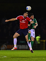 York City's Jon Parkin vies for possession with Lincoln City's Billy Knott<br /> <br /> Photographer Andrew Vaughan/CameraSport<br /> <br /> The Buildbase FA Trophy Semi-Final First Leg - York City v Lincoln City - Tuesday 14th March 2017 - Bootham Crescent - York<br />  <br /> World Copyright &copy; 2017 CameraSport. All rights reserved. 43 Linden Ave. Countesthorpe. Leicester. England. LE8 5PG - Tel: +44 (0) 116 277 4147 - admin@camerasport.com - www.camerasport.com