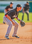 9 March 2013: Miami Marlins infielder Derek Dietrich in action during a Spring Training game against the Washington Nationals at Space Coast Stadium in Viera, Florida. The Nationals edged out the Marlins 8-7 in Grapefruit League play. Mandatory Credit: Ed Wolfstein Photo *** RAW (NEF) Image File Available ***