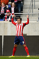 Erick Torres (9) of Chivas USA celebrates scoring. The New York Red Bulls and Chivas USA played to a 1-1 tie during a Major League Soccer (MLS) match at Red Bull Arena in Harrison, NJ, on March 30, 2014.
