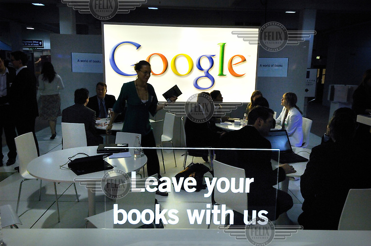 Google stand at London Book Fair, pushing their plan to put books on line, considered by many to be a threat to the industry.