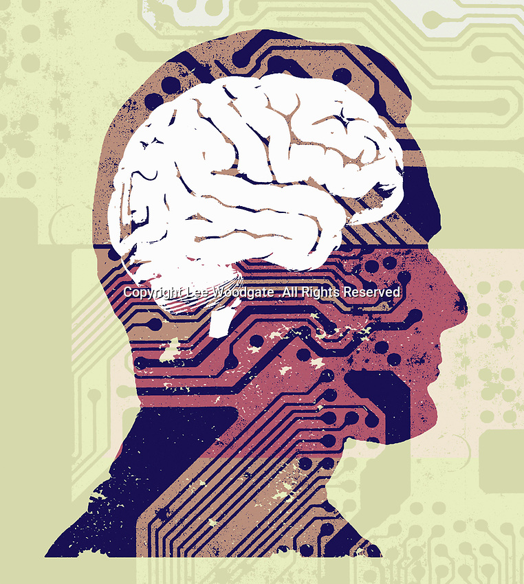 Man's brain connected to circuit board