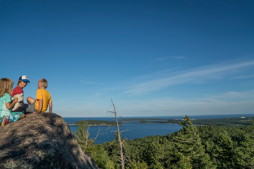 A family hike at Sugarloaf Mountain near Marquette, Michigan.