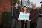Ed Hunt, Director of Superfast Cymru, local MP Alun Cairns and the local Cllr for Dinas Powys, Christopher P. Franks at the switch on of BT Fibre Broadband in Dinas Powys.<br /> <br /> 19.02.14<br /> <br /> &copy;Steve Pope-FOTOWALES