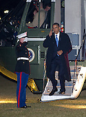 United States President Barack Obama returns to the White House following a day trip to Miami, Florida and Orlando, Florida to deliver remarks on his blueprint for an economy built to last and some campaign appearances on Thursday, February 23, 2012..Credit: Ron Sachs / Pool via CNP