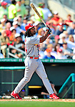 1 March 2009: St. Louis Cardinals' left fielder Brian Barton watches the first of his two home runs fly during a Spring Training game against the Florida Marlins at Roger Dean Stadium in Jupiter, Florida. The Cardinals outhit the Marlins 20-13 resulting in a 14-10 win for the Cards. Mandatory Photo Credit: Ed Wolfstein Photo