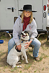 Adria Schmitt with her dog Dually, Jordan Valley Big Loop Rodeo.