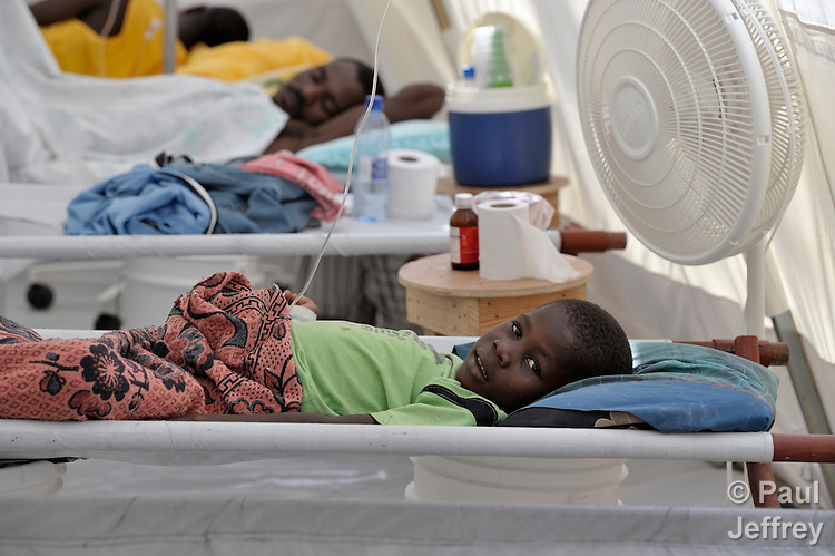 Paul Biberstend, 6, is treated for cholera in treatment center run by Oganizasyon Sante Popilè (OSAPO) in Montrouis, Haiti. Cholera appeared on the quake-ravaged Caribbean island nation in late 2010. OSAPO's work is supported by Diakonie Katastrophenhilfe and the Lutheran World Federation, both members of the ACT Alliance. In addition to treating people infected with cholera, OSAPO sends teams of health educators into urban and rural communities to provide education, distribute anti-bacterial soap and oral rehydration salts, and refer sick patients back to the OSAPO clinic...