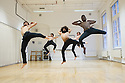 London, UK. 04.01.2014. Choreographer, Salah el Brogy, rehearses his new piece THE RACE, at The Place, prior to performing it at Resolution! festival on the 13th January. The dancers are: Salah el Brogy, Nico Migliorati, Dang Hai Dao, Michael Kelland, Jordan Ajadi. Photograph © Jane Hobson.