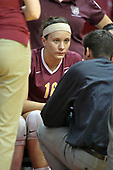 13 September 2011: Loyola Ramblers coach Chris Muscat speaks to Natalie Pounovich during an NCAA volleyball match between the Ramblers of Loyola and the Illinois State Redbirds at Redbird Arena in Normal Illinois.