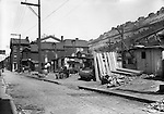 Pittsburgh PA:. The Penn Avenue and 17th Street Incline near Shantytown - the Strip District of Pittsburgh 1930.  During the depression, the area from the PA RR Station to the 17th street bridge was called Shantytown.  Father Cox, a local priest, helped the residents through food kitchens and highlighting their plight.  Brady Stewart photographed the area for the City of Pittsburgh.