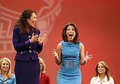 12 July, 2008:    Miss Auburn Cara Rudd screams with joy as it's announced that she is the the final person to make the top five in the 2008 Miss Washington pageant at the Pantages Theater in Tacoma , Washington. Miss Emerald City Ada Rose Williams (left) cheers her on.