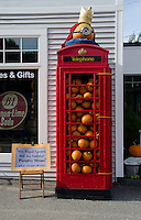 Red British telephone booth, ala Dr. Who, Damariscotta Pumpkin festival, Maine, USA