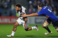 Kyle Eastmond of Bath Rugby looks to get past Mike McCarthy of Leinster Rugby. European Rugby Champions Cup match, between Leinster Rugby and Bath Rugby on January 16, 2016 at the RDS Arena in Dublin, Republic of Ireland. Photo by: Patrick Khachfe / Onside Images