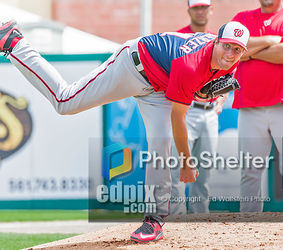 10 March 2015: Washington Nationals starting pitcher Max Scherzer warms up prior to a Spring Training game against the Miami Marlins at Roger Dean Stadium in Jupiter, Florida. The Marlins edged out the Nationals 2-1 on a walk-off solo home run in the 9th inning of Grapefruit League play. Mandatory Credit: Ed Wolfstein Photo *** RAW (NEF) Image File Available ***