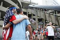 A USA fan has his photo taken with an Argentina fan prior to the match. The men's national teams of the United States and Argentina played to a 0-0 tie during an international friendly at Giants Stadium in East Rutherford, NJ, on June 8, 2008.