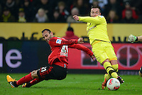 FUSSBALL   1. BUNDESLIGA   SAISON 2012/2013    20. SPIELTAG Bayer 04 Leverkusen - Borussia Dortmund                  03.02.2013 Oemer Toprak (Bayer 04 Leverkusen) gegen Mario Goetze (re, Borussia Dortmund)