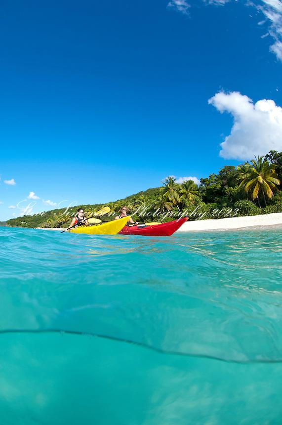 Couple kayaking Trunk Bay, US Virgin Islands