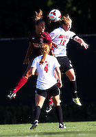 WINSTON-SALEM, NORTH CAROLINA - August 30, 2013:<br />  Chelsea Hunter (10) of Louisville University challenges Jazmine Reeves (5) of Virginia Tech for a header during a match at the Wake Forest Invitational tournament at Wake Forest University on August 30. The game ended in a 1-1 tie.