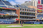 23 June 2013: The Western Metal Supply Building, built in 1909, today serves as a signature feature of Petco Park, home of the San Diego Padres. The corner of the building supports the left field foul pole, shown prior to a game against the Los Angeles Dodgers in San Diego, California. The Dodgers defeated the Padres 3-1, splitting their 4-game Divisional Series at 2-2. Mandatory Credit: Ed Wolfstein Photo *** RAW (NEF) Image File Available ***