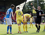 St Johnstone v Hearts&hellip;17.09.16.. McDiarmid Park  SPFL<br />Referee John Beaton books Graham Cummins for diving<br />Picture by Graeme Hart.<br />Copyright Perthshire Picture Agency<br />Tel: 01738 623350  Mobile: 07990 594431