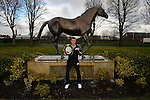 Boxing-Frank Warren Press Conference-Aintree-09/09/2013-Pictures by Paul Currie-KEEP-Paul Butler poses with a Red Rum Statue at Aintree racecourse Liverpool