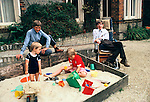 PROFESSOR STEPHEN HAWKING AT HOME WITH HIS YOUNG FAMILY CAMBRIDGE ENGLAND 1981.1980's UK.