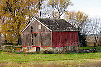 A gable roofed red barn in southern Minnesota