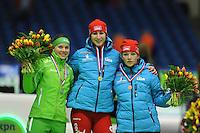 SCHAATSEN: HEERENVEEN: 26-10-2013, IJsstadion Thialf, NK afstanden, podium 500m, Laurine van Riessen, Margot Boer, Thijsje Oenema, ©foto Martin de Jong