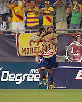 Monarcas Morelia forward Miguel Sabah (9) celebrates his second goal of the match. Monarcas Morelia defeated the New England Revolution, 2-1, in the SuperLiga 2010 Final at Gillette Stadium on September 1, 2010.