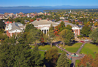 Waterman, UVM Green, Burlington and Lake Champlain. Fall UVM Campus