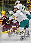 24 November 2012: University of Vermont Catamount defenseman Nick Bruneteau, a Junior from Omaha, NB, in first period action against the University of Minnesota Golden Gophers at Gutterson Fieldhouse in Burlington, Vermont. The Catamounts fell to the Gophers 3-1 in the second game of their 2-game non-divisional weekend series. Mandatory Credit: Ed Wolfstein Photo