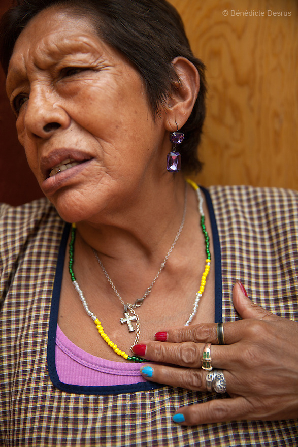 Luchita, a resident of Casa Xochiquetzal, smokes a cigarette at the shelter in Mexico City, Mexico on July 11, 2013. Casa Xochiquetzal is a shelter for elderly sex workers in Mexico City. It gives the women refuge, food, health services, a space to learn about their human rights and courses to help them rediscover their self-confidence and deal with traumatic aspects of their lives. Casa Xochiquetzal provides a space to age with dignity for a group of vulnerable women who are often invisible to society at large. It is the only such shelter existing in Latin America. Photo by Bénédicte Desrus